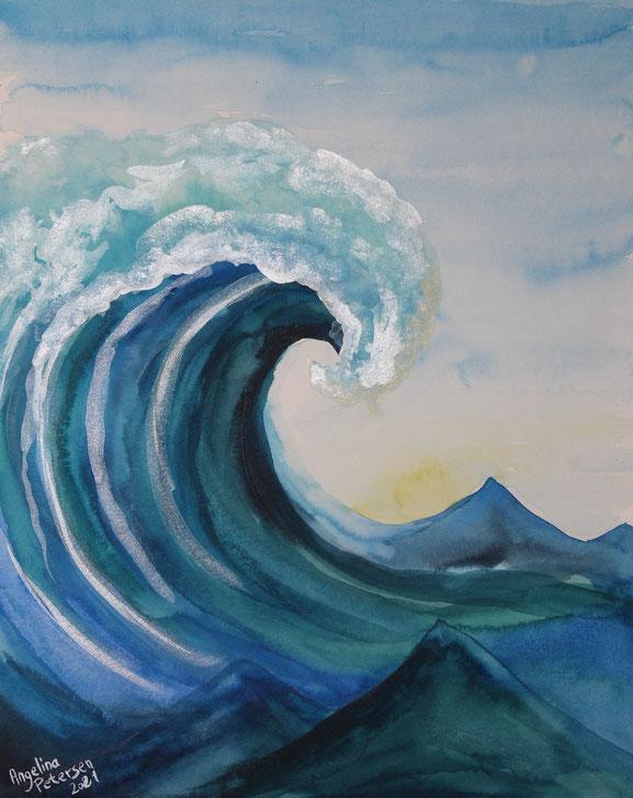 die welle, das meer, aquarellmalerei, watercolor art, angelina petersen, art berlin, künstlerin berlin, deep blue sea