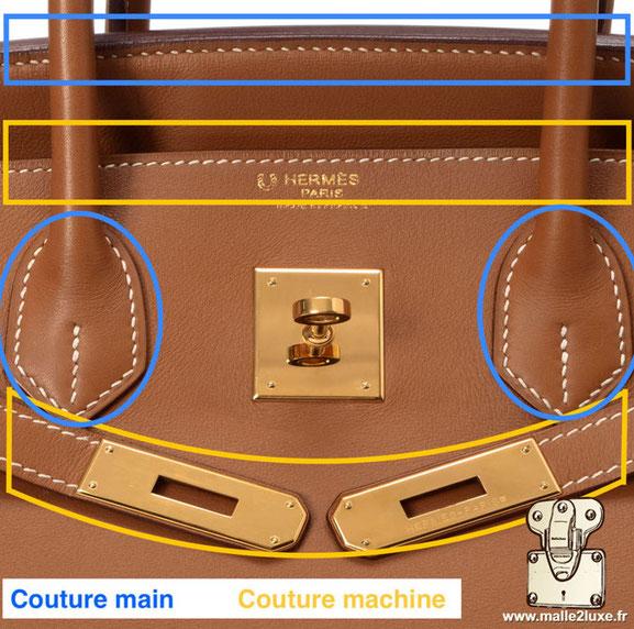 sac hermes et secret de fabrication, reconnaitre un faux sac grâce a ses coutures Birkin