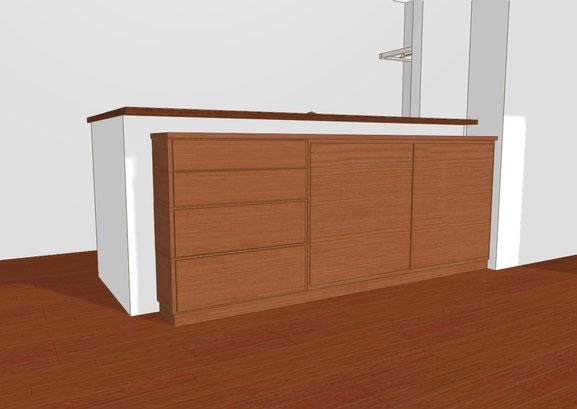 カウンター下収納 チェリー材 オーダー家具 収納家具