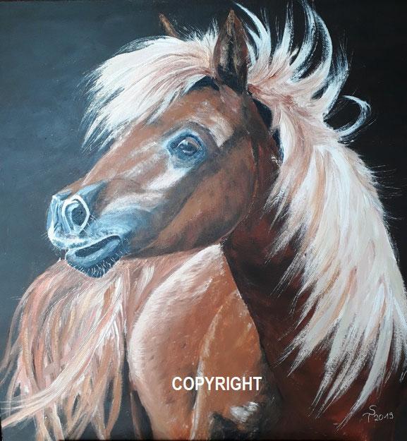 Pferdeporträt: Braunes Pferd mit heller Mähne. Pferd dreht sich ins Bild. Kopf ist  seitlich dagestellt, dabei ist ein Teil des Rückens und Schweifes zu sehen