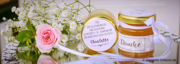 Honig - süße Tischkarte zur Hochzeit, Silberhochzeit, Kommunion, Konfirmation, Geburtstag