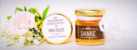 Honig - süße Gastgeschenke zur Hochzeit, Silberhochzeit, Kommunion, Konfirmation, Geburtstag