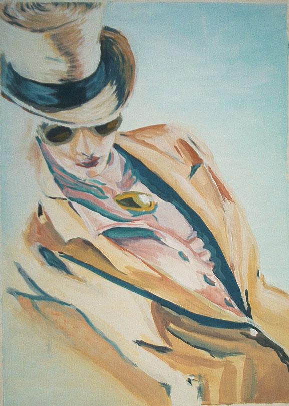 mode,malerei,hut,blazer,beige,rosa,hemd,sonnenbrille