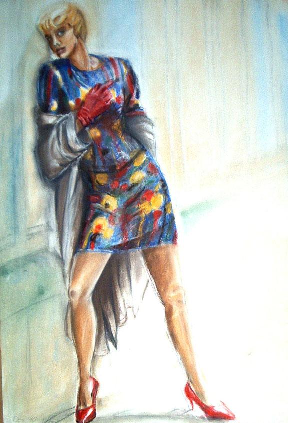 mode,malerei,buntes kleid,rote schuhe,mantel,rote,handschuhe