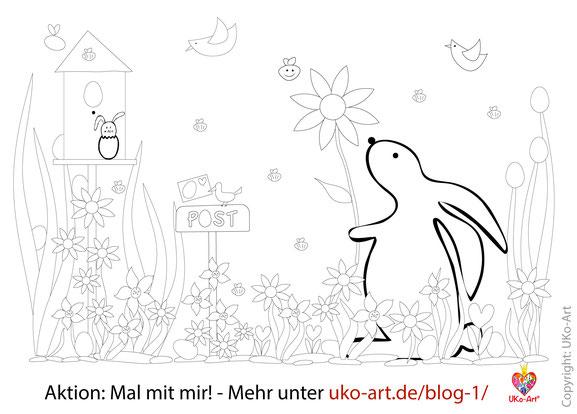 Aktion Mal-mit-mir! Malvorlage Ostern von UKo-Art
