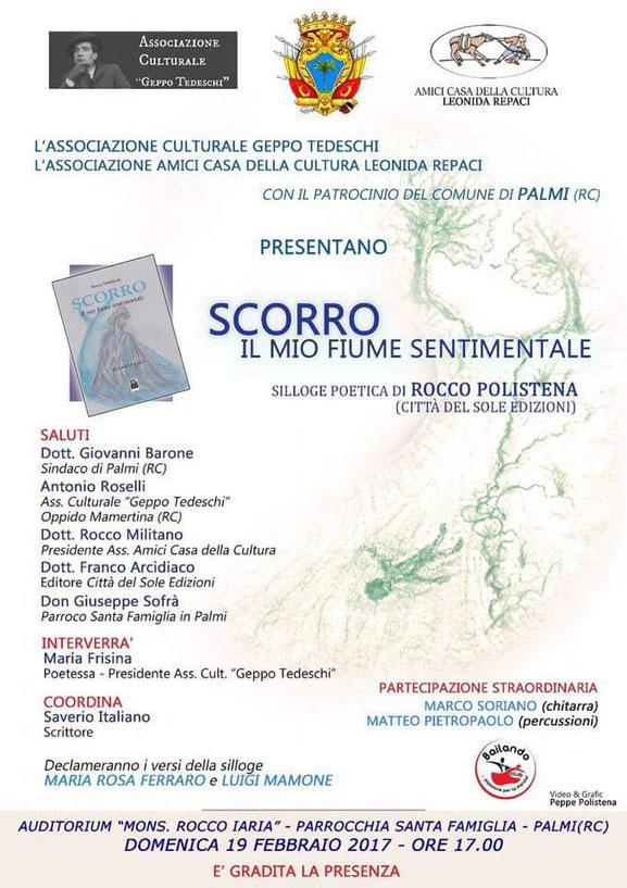 """Presentazione del volume """"Scorro - il mio fiume sentimentale """" di Rocco Polistena"""