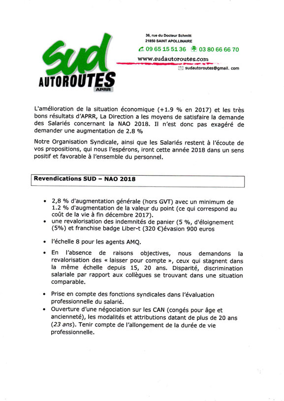 SUD Autoroutes APRR NAO revendications