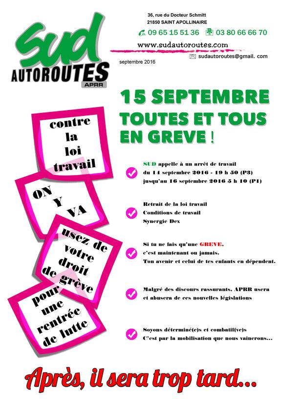 grève du 15 septembre 2016 loi travail el khomri
