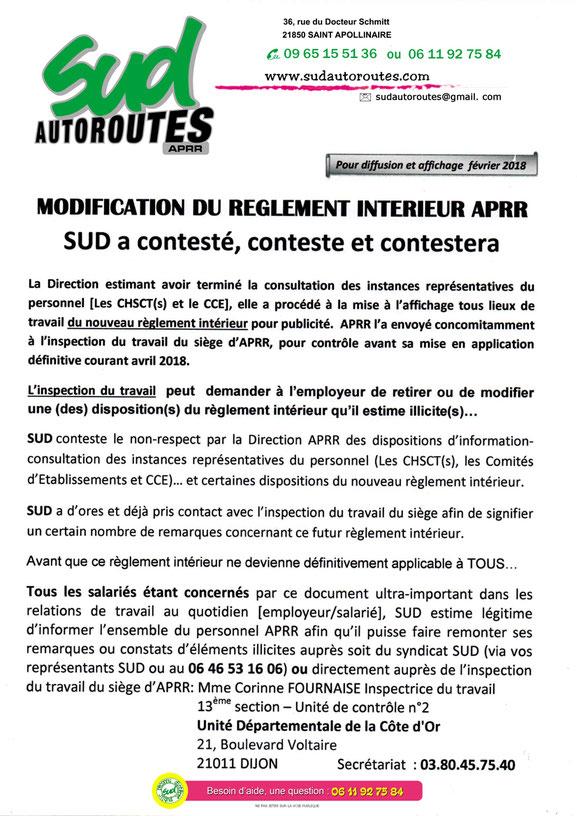 SUD Autoroutes APRR tract règlement intérieur