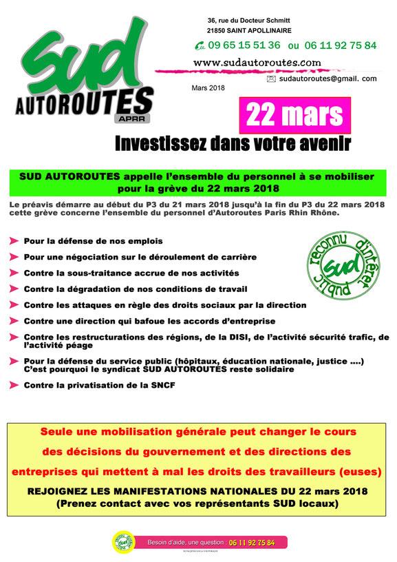 SUD AUTOROUTES APRR en grève le 22 mars 2018
