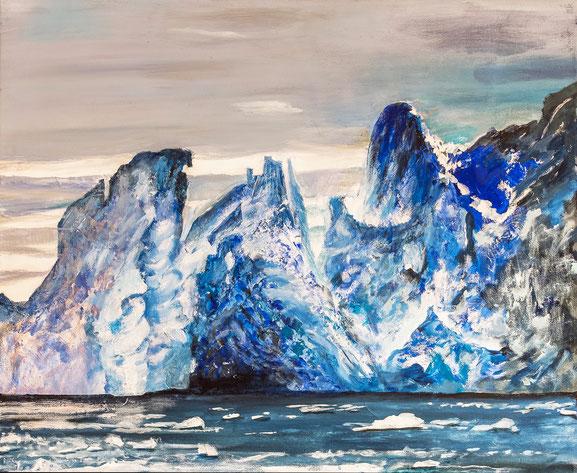 Grönland 2017 Eisberg 2, Acryl, Leinwand