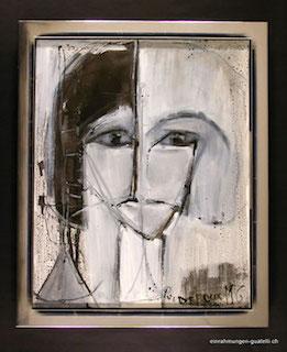 Gemälde im Doppelrahmen, Bild ist im Rahmen vollflächig freigestellt. Keine Beschädigung durch aufliegen des Bilderrahmen.