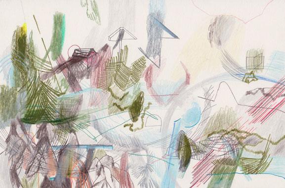 o. T. (Frische Luft) . 2016 . Bleistift, Farbstift, Wachskreide auf Papier . 19 x 29 cm