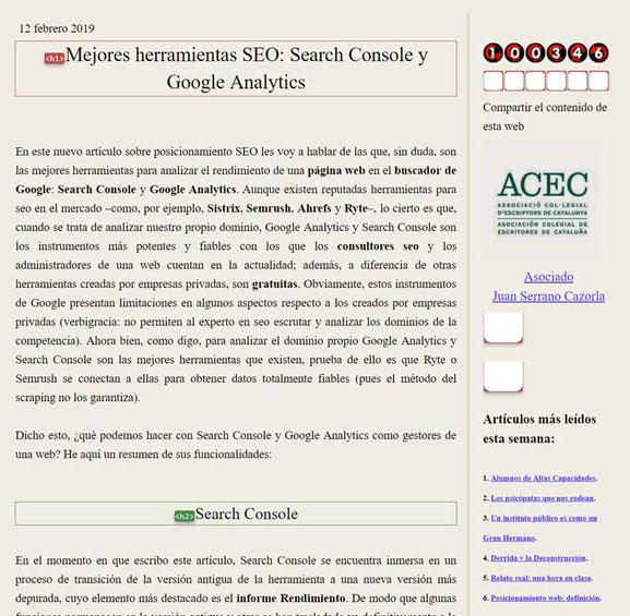 Análisis SEO de una web con Web Developer: encabezamientos H1, H2, H3...