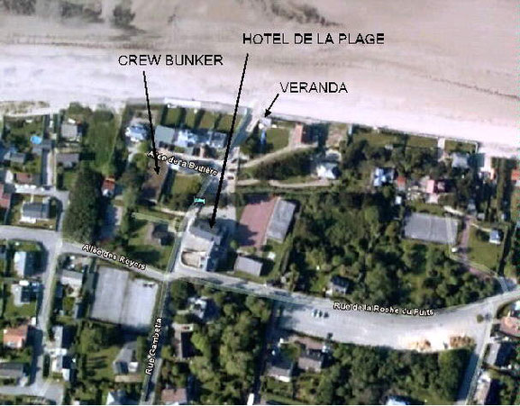 Hotel de la Plage, Bunker und Veranda in Urville - Bild: Google Earth