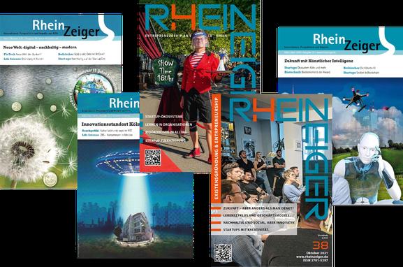 Die Printausgaben des Gründermagazins RheinZeiger