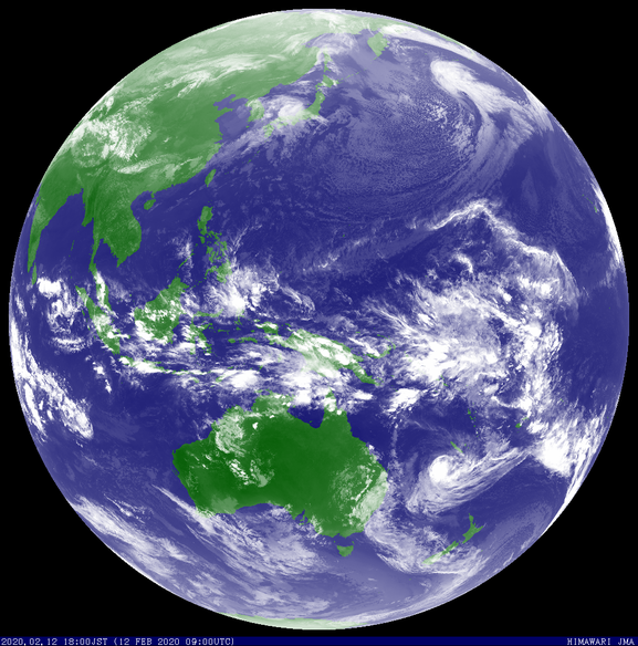 Tropical Cyclone Uesi in the South-West Pacific Ocean, 12/02/2020. Images from JMA
