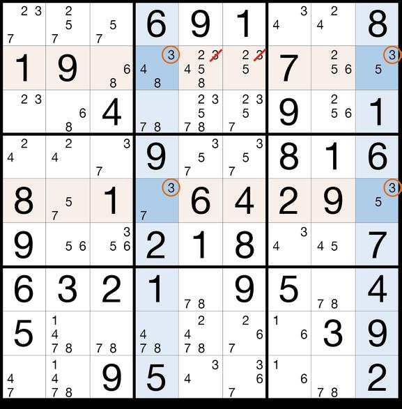 Sudoku Lösungsstrategie X-Wing© Martin Simon