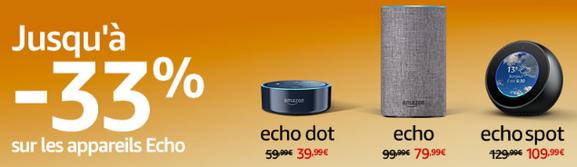 Promo 33% sur la gamme d'équipements d'Amazon Echo - Promotion sur la gamme Amazon Echo : Echo, Echo Plus, Echo Dot, Echo Spot, Section Bons Plans - Promos :  www.2bamboo.jimdo.fr