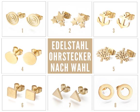 Edelstahl Ohrstecker mit offenem Kreis vergoldet 10mm