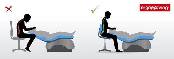 Le siège selle dentaire qui évite enroulement et torsion du dos.