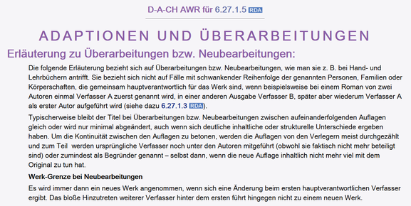 D-A-CH zu 6.27.1.5 (Screenshot aus dem RDA Toolkit (www.rdatoolkit.org), verwendet mit Genehmigung der RDA-Verleger (American Library Association, Canadian Library Association und CILIP))