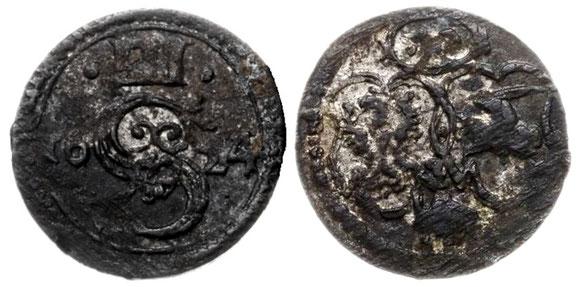 Awers:  III 2 S 4 nominał z dwoma kropkami Rewers: Herby Polski i Litwy z herbem Bróg