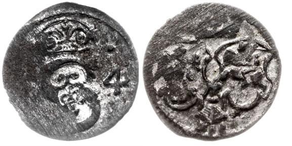 Awers: 2 S 4 Ukoronowane z dwoma kropkami Rewers: Herby Polski i Litwy z herbem Bróg