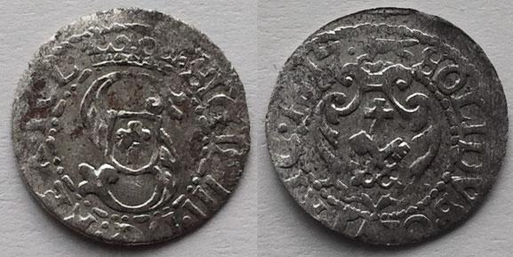 Awers:  S   SIGIS.III.D G:REX.POL.   Rewers:   SOLIDVS.CIVI.RIG.1617.