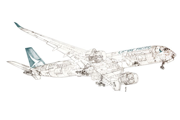 The delicate structures of a Cathay A350 are well illustrated in this drawing.