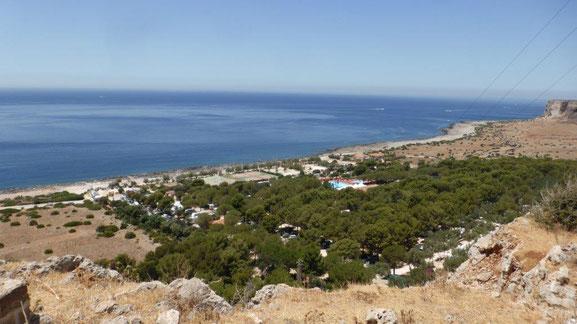 Blick auf den tollen Campingplatz El Bahira