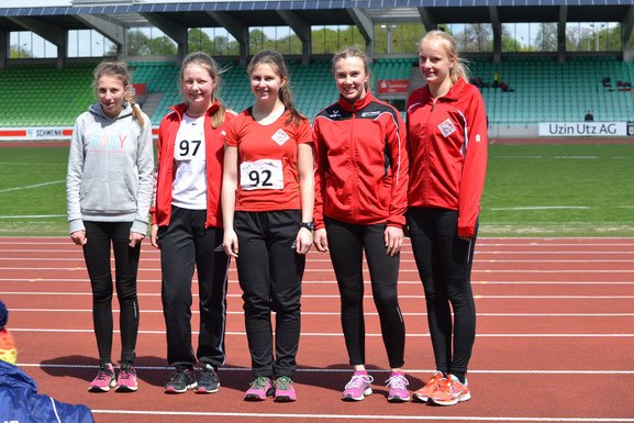 links nach rechts: Lilly Seidel, Jana Schenk, Anna Maier, Sophie Hellmuth, Viviana Böckheler