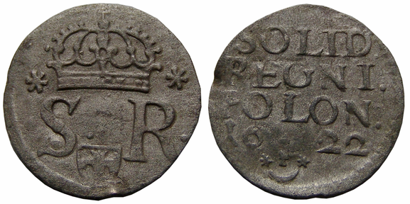 Awers:  S R    Rewers:  SOLID. REGNI. POLON.  16 22