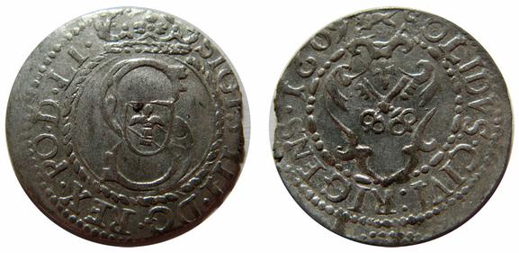 Awers:   S   SIGIS.III.D G.REX.PO.D.LI.    Rewers:   SOLIDVS:CIVI:RIGENS.1609