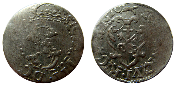 Awers:  S  SIGIS.III.D G.REX POLO   Rewers:  SOLIDVS:CIVI:RIGENS:1610