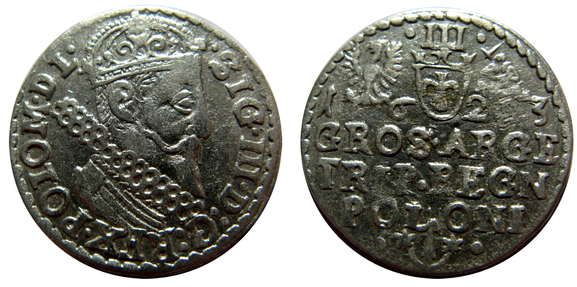 Awers: .SIG.III.D:G:REX.POLO M D L. Rewers: III 1 6 2 3. GROS.ARGE TRIP.REGN POLONI