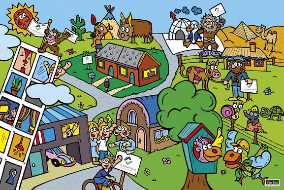 Dirk Van Bun Communicatie en Vormgeving - Gepersonaliseerde illustratie op canvas - Het Huiskantoor - Origineel geschenk - ontwerp - reclame - Lommel