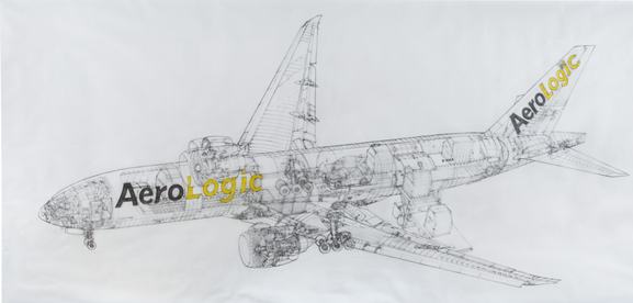 Cutaway drawing of B777 freighter. This unique piece of art decorates the walls of AeroLogic's Leipzig headquarters.