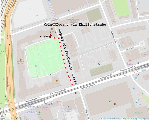 Stadtplanausschnitt: Zugang zur KISS nur über Freiberger Straße möglich