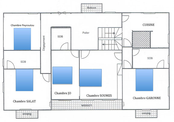 Maison chambres chambres d 39 h tes l 39 escal re for Plan de maison 2 chambres salon cuisine douche