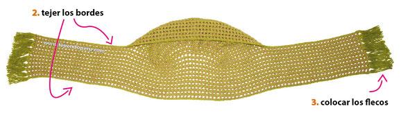 Tutorial: bufanda con capucha tejida a crochet en el punto cobija