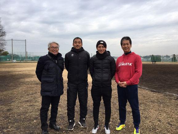 2019.12.26立川高校戦にて。左から小安会長、田中康之先生、加藤裕コーチ、尾方副会長