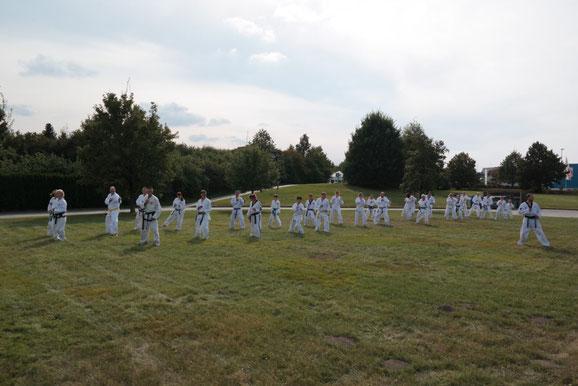 Eine Taekwondo-Gruppe steht auf einer Wiese und trainiert im Freien.
