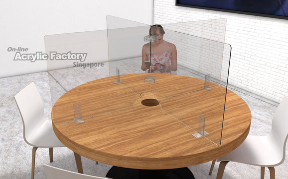Acrylic shield Type4 round table with access hole