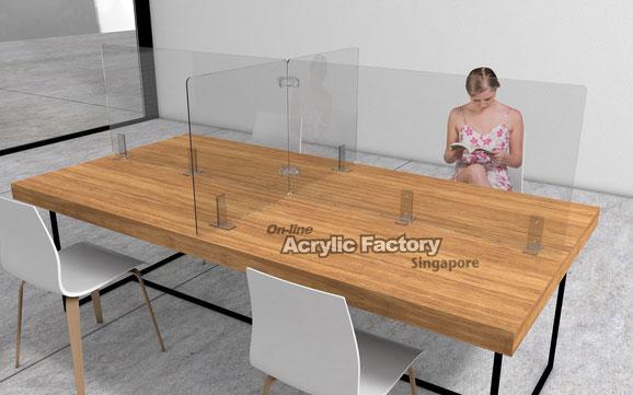 Acrylic shield Type4 long table clear bracket