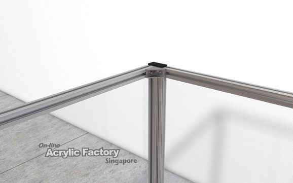 Acrylic partition Type18 Corner bracket joined