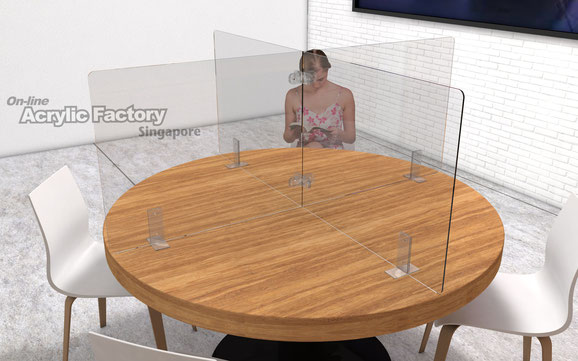 Acrylic shield Type4 round table with clear bracket and connector