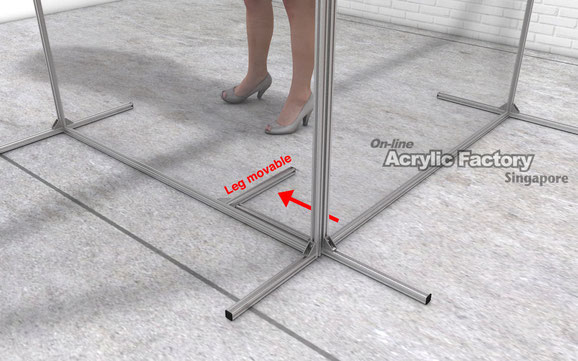 Acrylic partition Type18 Leg movable
