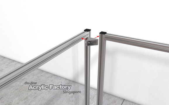 Acrylic partition Type18 Corner bracket