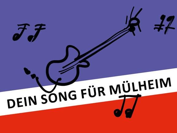 Dein Song für Mülheim. Die Köln-Mülheimer Farben sind Blau, Weiß und Rot.